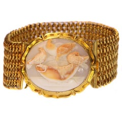 Victorian Carved Cameo 14 Karat Yellow Gold Doves of Pliny Cuff Bracelet