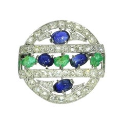 Art Deco Gemstone Platinum Tutti Frutti Brooch