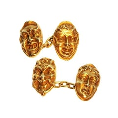 French Antique Gold Mask Cufflinks