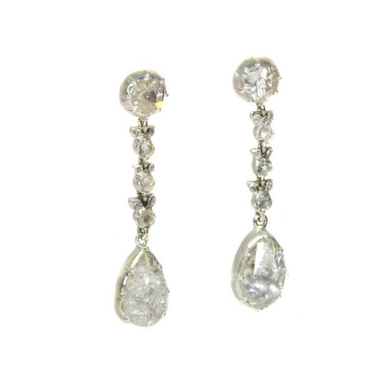 Women's Fine Antique Georgian Pear Rose Cut Diamond 14 Karat Gold Dangle Earrings For Sale