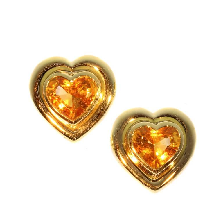 Paloma Picasso for Tiffany & Co. Citrine 18 Karat Gold Heart Clip On Earrings For Sale