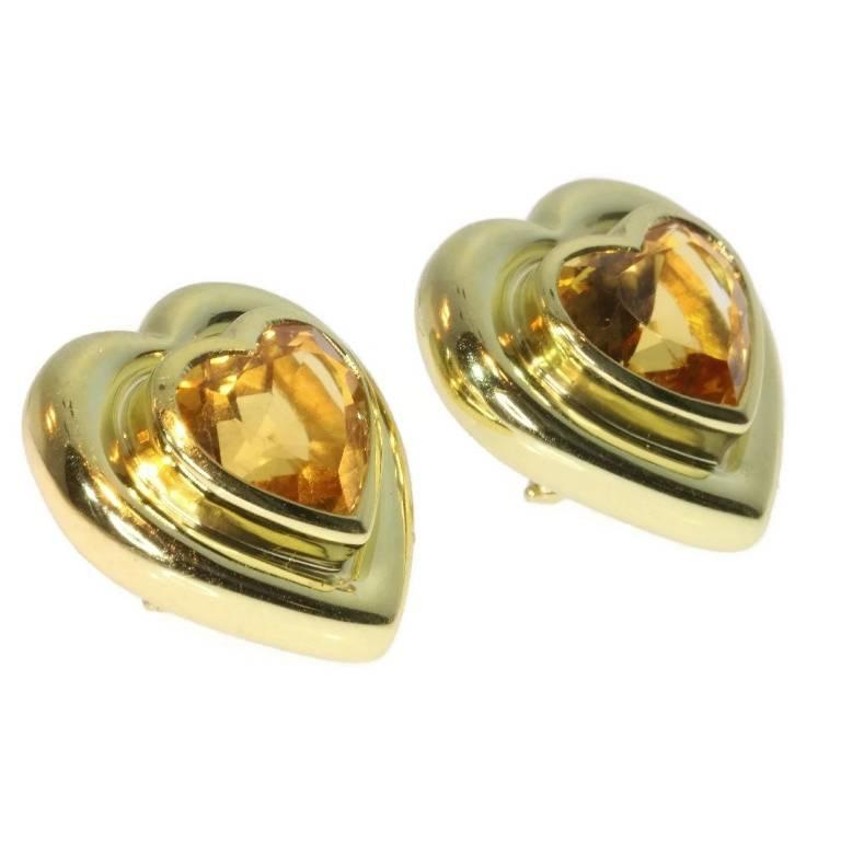 Modern Paloma Picasso for Tiffany & Co. Citrine 18 Karat Gold Heart Clip On Earrings For Sale
