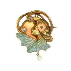 Art Nouveau Plique Ajour Enamel Old Mine Diamond Pearl Pendant Brooch Lady Wings