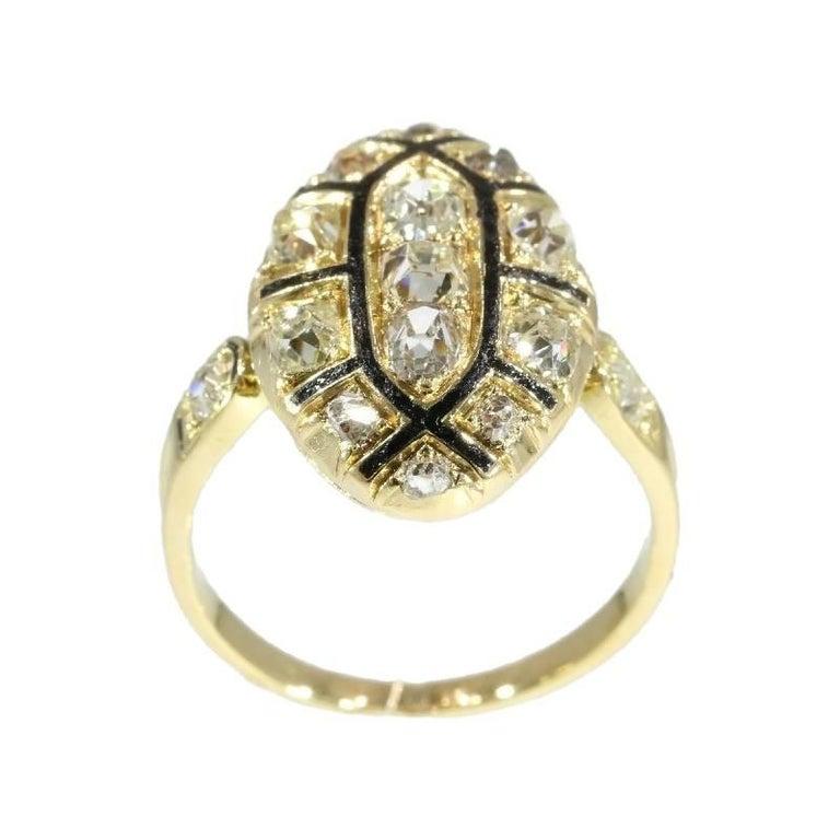 Women's 18th Century Antique 1.50 Carat Diamond & Black Enamel 18 Karat Yellow Gold Ring For Sale