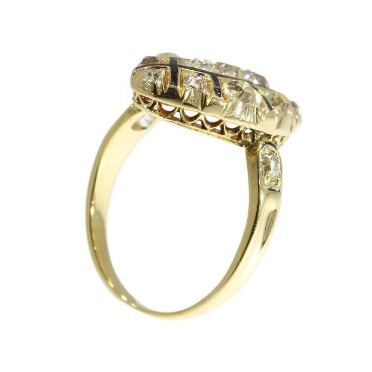 18th Century Antique 1.50 Carat Diamond & Black Enamel 18 Karat Yellow Gold Ring For Sale 4