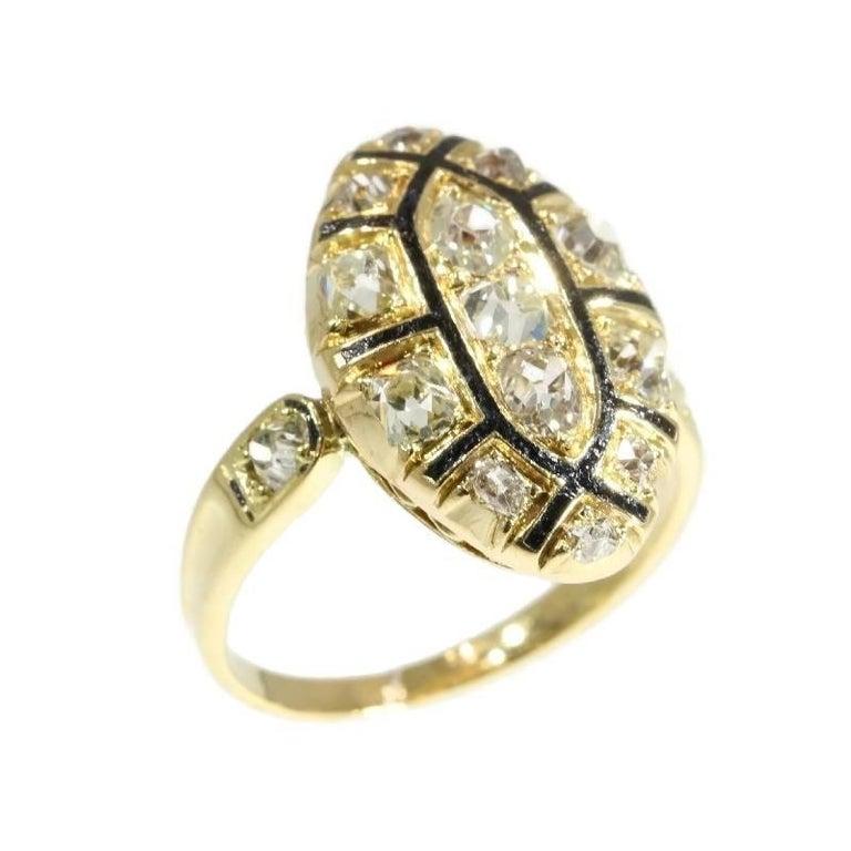 18th Century Antique 1.50 Carat Diamond & Black Enamel 18 Karat Yellow Gold Ring For Sale 5