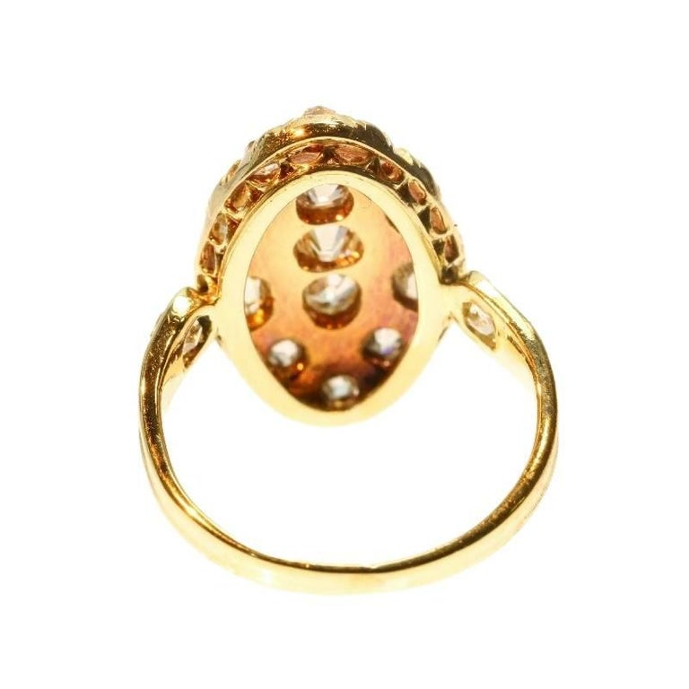 18th Century Antique 1.50 Carat Diamond & Black Enamel 18 Karat Yellow Gold Ring For Sale 6