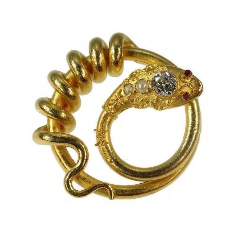 Antique Victorian Old European Cut Diamond Pearl 18 Karat Gold Snake Brooch