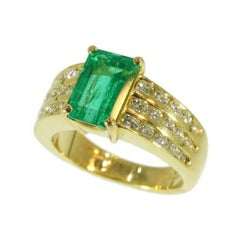 Kutchinsky Emerald Diamond 18 Karat Yellow Gold Ring