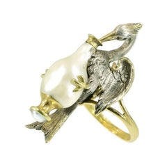 French Antique Baroque Pearl Silver Stork Ring 18 Karat Yellow Gold Aesop Fable