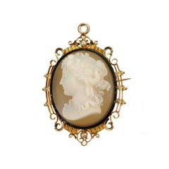 Fine French Antique Cameo Black Enamel Pearl 18 Karat Rose Gold Brooch Pendant