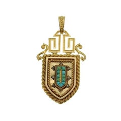 Fine French Antique Gold and Turquoise Locket Pendant