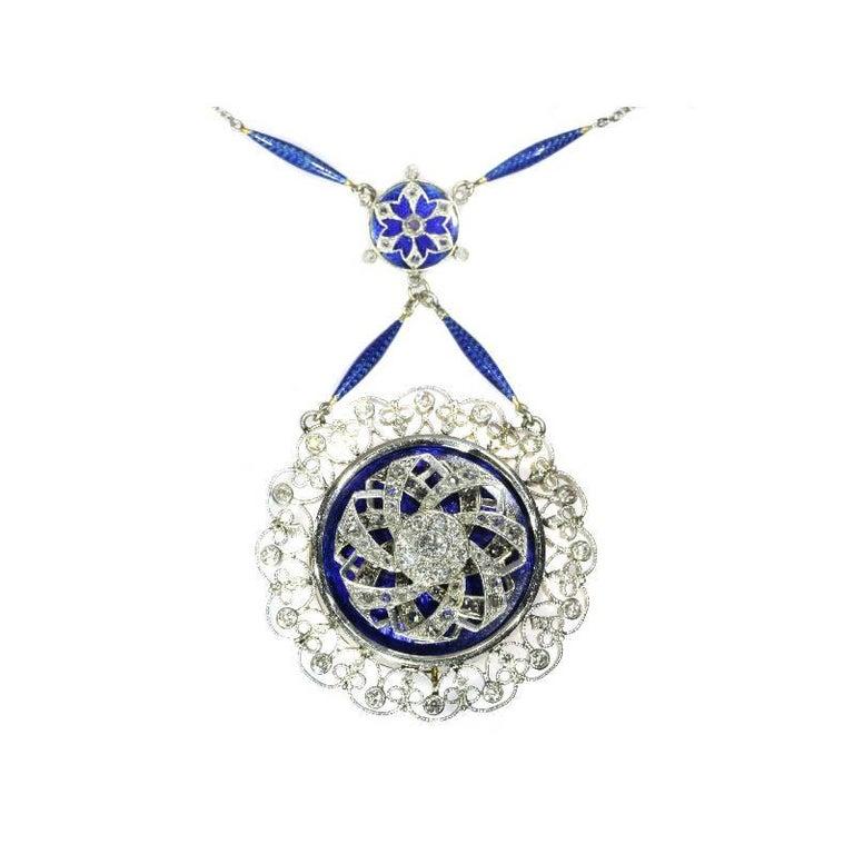 Edwardian Blue Enamel and Diamond Turning Pendant Necklace 18 Karat Yellow Gold
