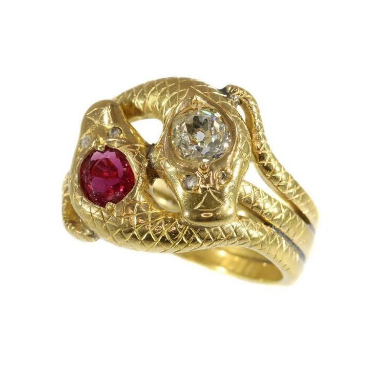 Victorian Ruby and Diamond 18 Karat Yellow Gold Double Snakes Ring For Sale
