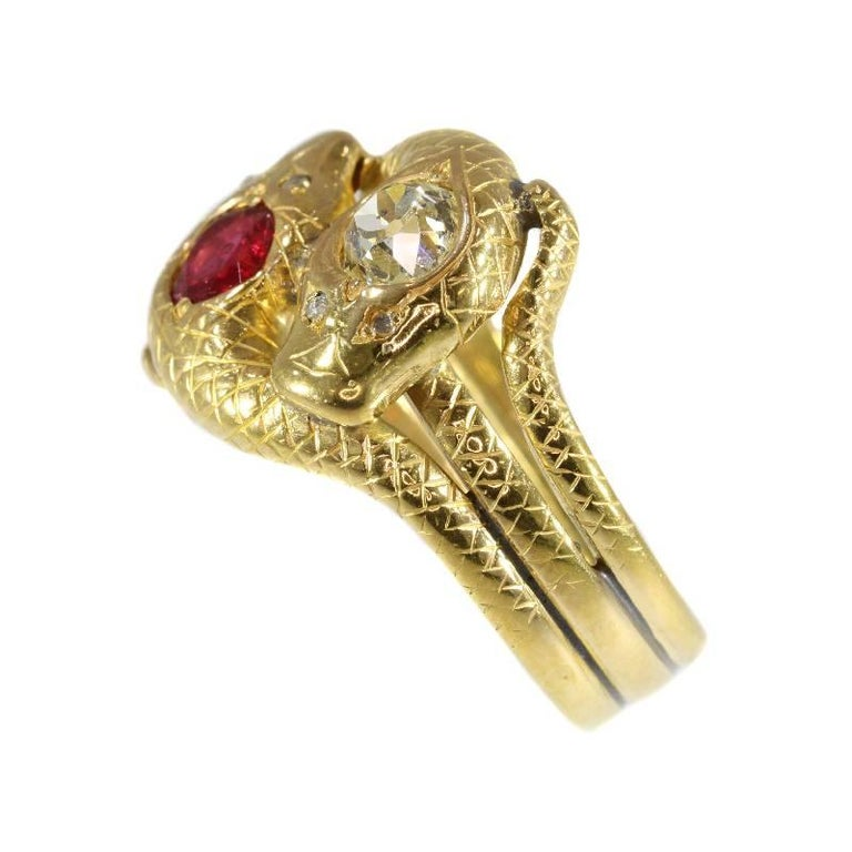 Victorian Ruby and Diamond 18 Karat Yellow Gold Double Snakes Ring For Sale 1