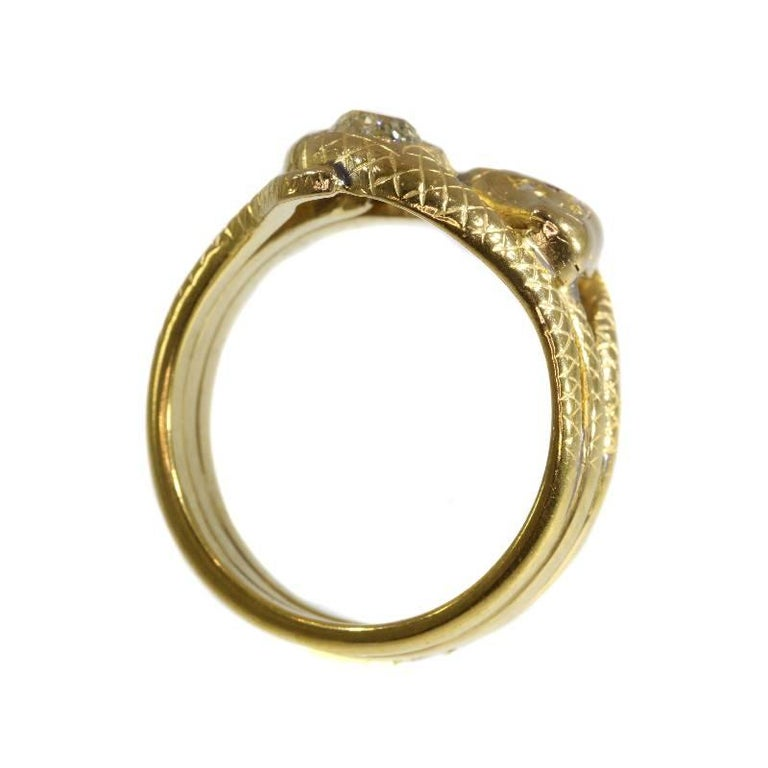 Victorian Ruby and Diamond 18 Karat Yellow Gold Double Snakes Ring For Sale 3