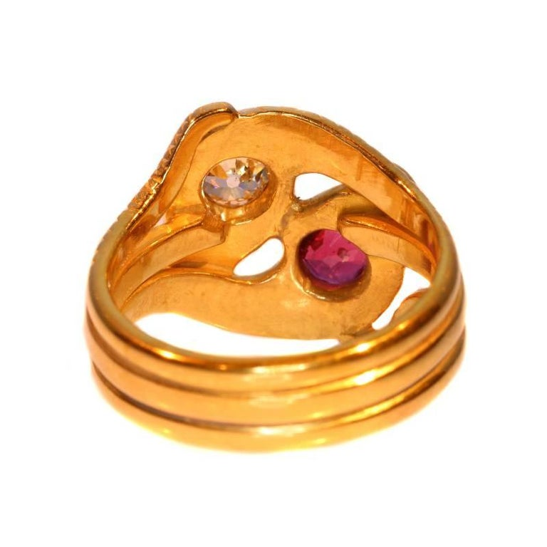 Victorian Ruby and Diamond 18 Karat Yellow Gold Double Snakes Ring For Sale 6
