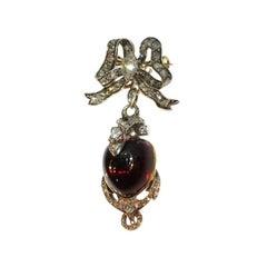 Victorian Antique Garnet and Diamond Snake Pendant Brooch