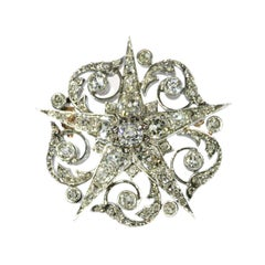French Antique Diamond Star Brooch 18 Karat Rose Gold
