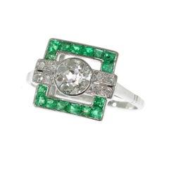 Art Deco .91 Carat Diamond and Emerald Platinum Square Geometric Ring, 1920s