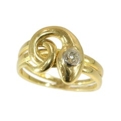 Victorian Antique .25 Carat Diamond and 18 Karat Yellow Gold Coiled Snake Ring