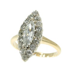 Victorian Diamond and 14 Karat Yellow Gold Marquise Ring