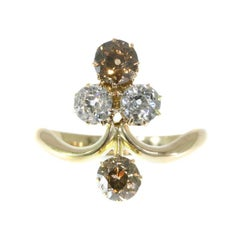 Victorian Diamond Aigrette Engagement Ring 18 Karat Yellow Rose Gold