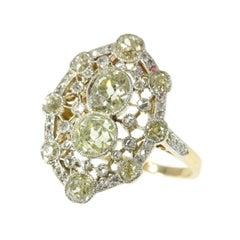 Belle Époque 2.20 Carat Fancy Yellow Diamond 18 Karat Gold Engagement Ring