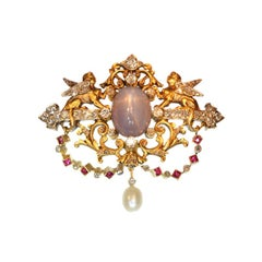 Fine French Antique Brooch Star Sapphire and Diamonds 18 Karat Yellow Gold