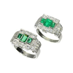 Pair of Rings Colombian Emerald & Diamond Platinum Ring Green Paste Silver Ring