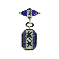 Art Deco Blue Enamel and Diamond 14 Karat Gold Floral Lady Watch Pendant