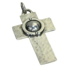 French Designer Jean Despres Geometric Motif Silver Latin Cross Pendant