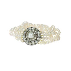 Victorian Pearl and Diamond Beaded Bracelet