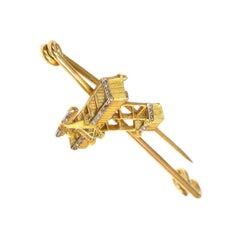 Antique Yellow Gold and Diamond Plane Pin, circa 1908, Baron Pierre de Caters