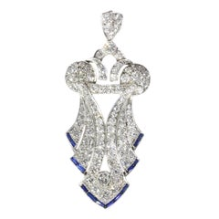 Original Stylish Vintage Art Deco Platinum Diamond Loaded '5.57 Carat' Pendant