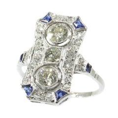 Typical Art Deco Platinum Diamond Engagement Ring