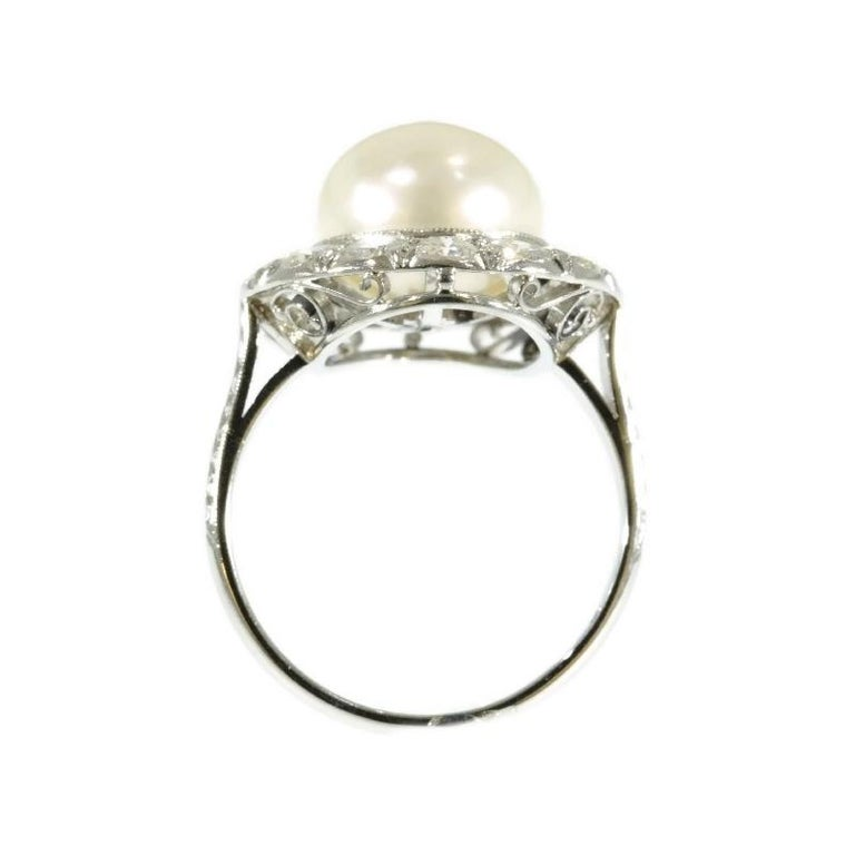 Pearl And Diamond Engagement Rings: Diamond And Pearl Platinum Estate Engagement Ring For Sale
