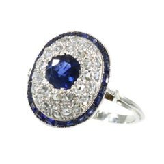Vintage Art Deco Diamond and Natural Sapphire '1.10 Carat' Engagement Ring