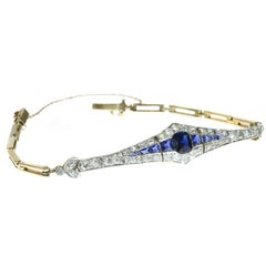 Belle Époque Gold and Platinum Bracelet with Diamonds and Sapphires