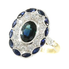 Stylish Art Deco Style Diamond and Natural Sapphire Engagement Ring