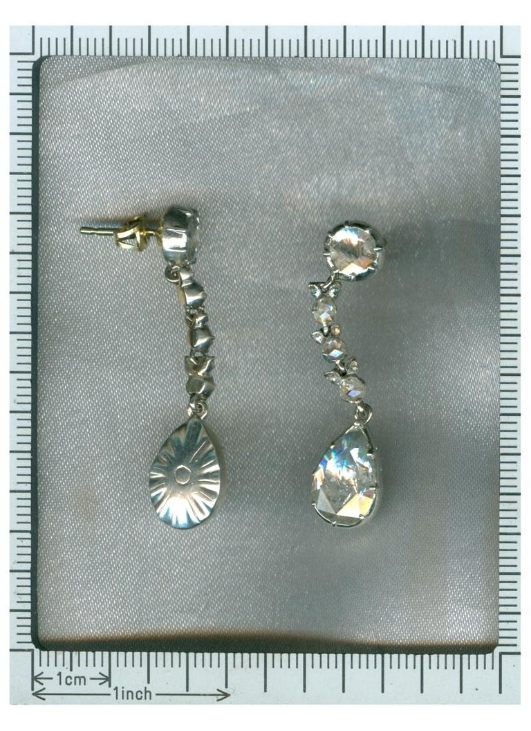 Fine Antique Georgian Pear Rose Cut Diamond 14 Karat Gold Dangle Earrings For Sale 2