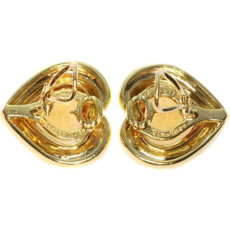 Paloma Picasso for Tiffany & Co. Citrine 18 Karat Gold Heart Clip On Earrings For Sale 2