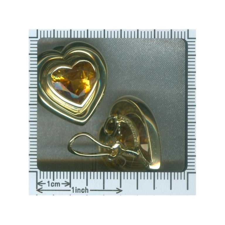 Paloma Picasso for Tiffany & Co. Citrine 18 Karat Gold Heart Clip On Earrings For Sale 5