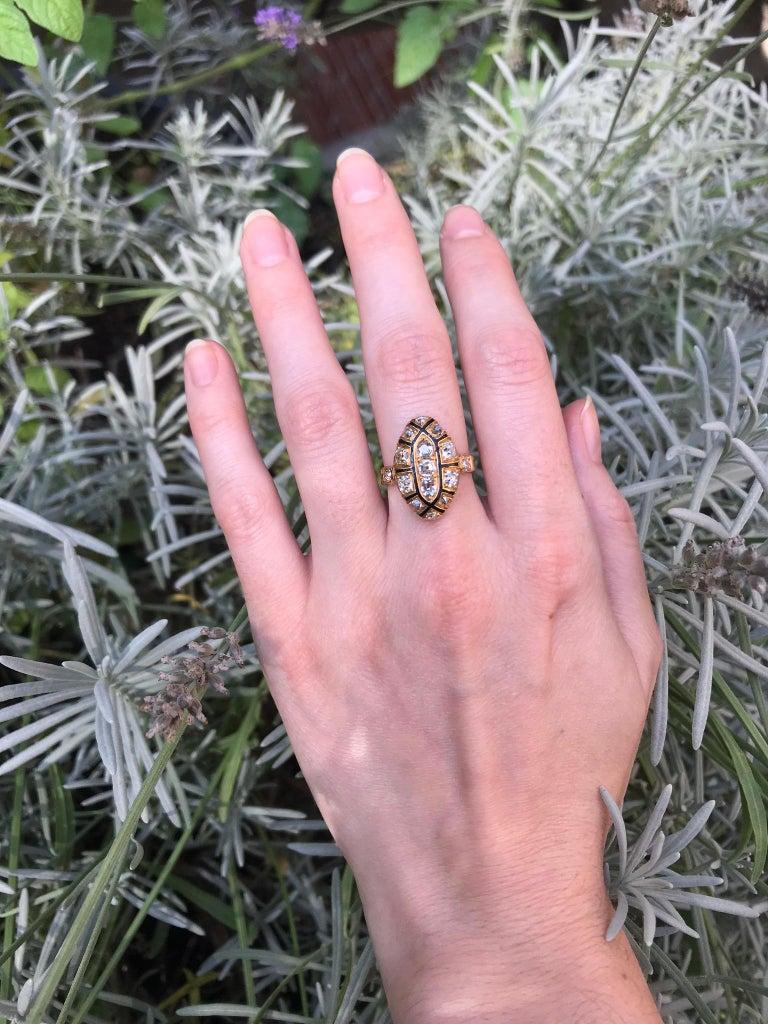 Old European Cut 18th Century Antique 1.50 Carat Diamond & Black Enamel 18 Karat Yellow Gold Ring For Sale