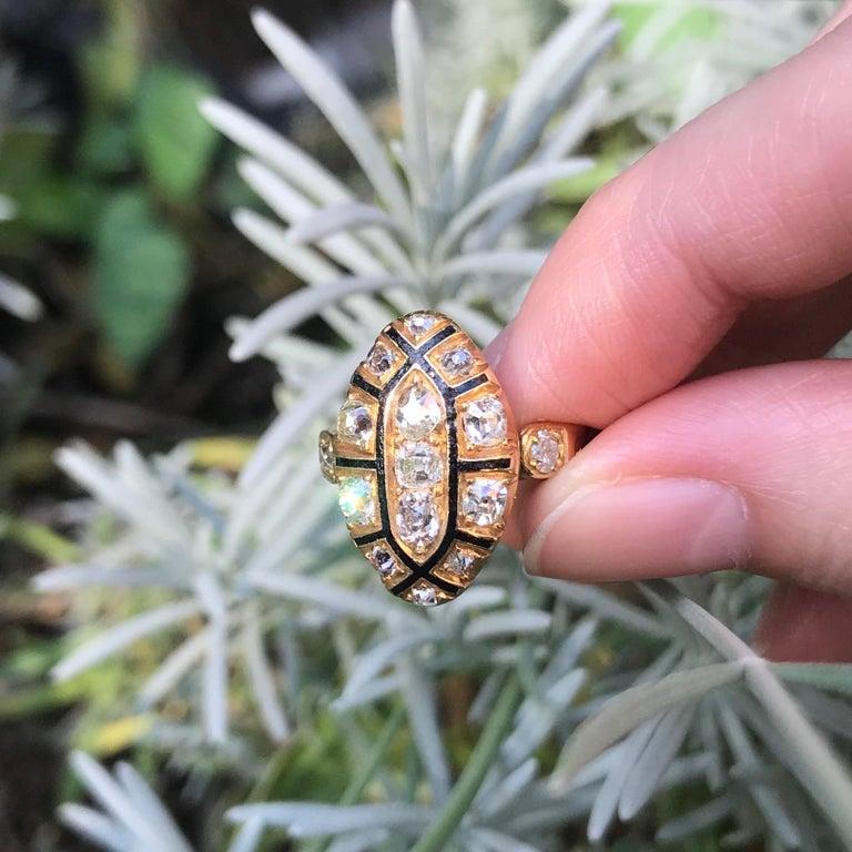 Rococo 18th Century Antique 1.50 Carat Diamond & Black Enamel 18 Karat Yellow Gold Ring For Sale