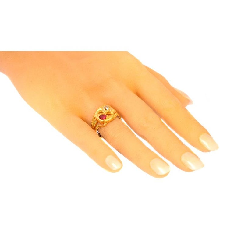 Victorian Ruby and Diamond 18 Karat Yellow Gold Double Snakes Ring For Sale 7