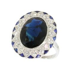 French Art Deco Sapphire and Diamond Platinum Engagement Ring