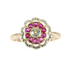Victorian Ruby and Diamond 18 Karat Rose Gold Ring