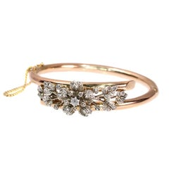 19th Century Victorian European Cut Diamond and Rose Gold Flower Bangle, 1870s