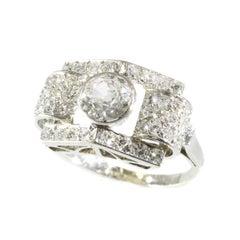 Vintage Strong Design Platinum Art Deco Ring with Diamonds '1.75 Carat'